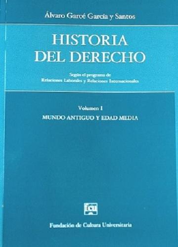 Tapa: Garcé y Santos, Historia del Derecho, Vol. 1