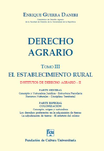 Tapa Derecho Agrario - Tomo 3